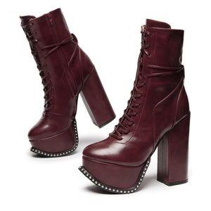 Pandora | Lace Up Platform Boots | Burgundy